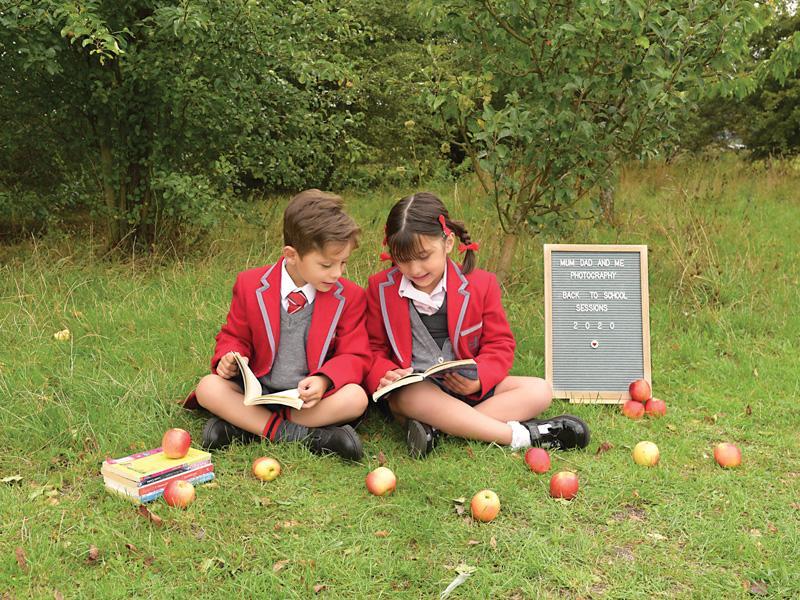 children in school uniforms